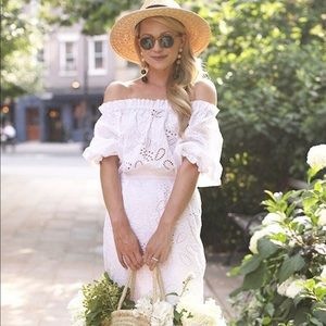 Saloni Grace Cotton White Eyelet Dress